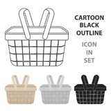 Picnic basket icon in cartoon style isolated royalty free illustration