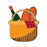 Picnic basket icon. Isolated picnic basket icon. Vector illustration design Stock Photo