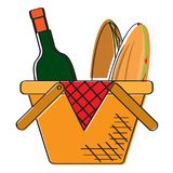 Picnic basket icon. Isolated picnic basket icon. Vector illustration design Stock Images