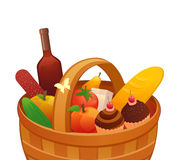 Picnic basket. Illustration of a picnic basket stock illustration