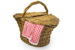 Picnic Basket. Isolated over white background Royalty Free Stock Photo
