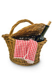 Picnic Basket. Isolated over white background Royalty Free Stock Photography