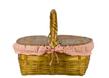 Picnic basket isolated on white Royalty Free Stock Photo