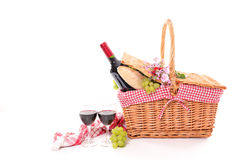 Picnic basket. Isolated on white Royalty Free Stock Photo