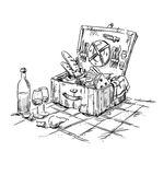Picnic basket, lunch on the grass. Illustration Stock Photos