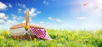 Picnic - Basket On Meadow. In A Sunny Day Stock Photo