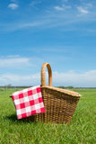 Picnic basket in nature Royalty Free Stock Photography