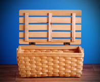Picnic basket open and empty Stock Photos