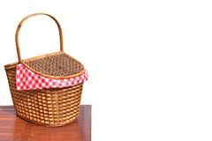 Picnic Basket On The Outdoor Wood Table Isolated Close-up Stock Images