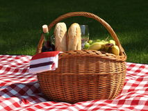 Picnic basket. Basket prepared for the picnic in the park Royalty Free Stock Image