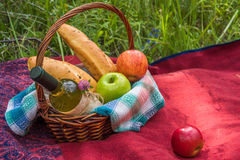 Picnic basket on the red blanket at nature. Apples, white wine a Stock Photography