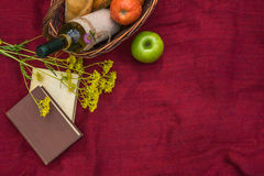 Picnic basket on the red blanket top view. Apples, white wine, b Stock Image