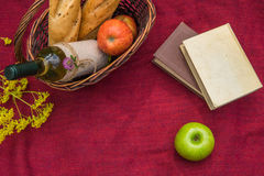 Picnic basket on the red blanket top view. Apples, white wine, b. Ooks, baguettes and yellow wild flowers Stock Images
