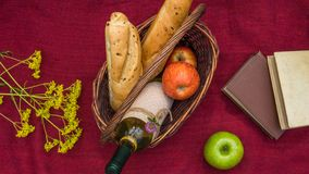 Picnic basket on the red blanket top view. Apples, white wine, b Royalty Free Stock Photography