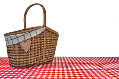 Picnic Basket On The Red Checkered Tablecloth Isolated On White Royalty Free Stock Image