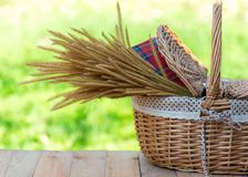Picnic basket with Red napkin and flower on table place, green nature background Royalty Free Stock Images
