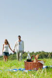 Picnic basket - Romantic couple holding hands. Picnic basket - Romentic happy couple in meadows nature sunny day royalty free stock photo