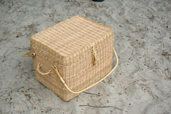Picnic basket on sand beach Royalty Free Stock Images