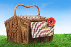 Picnic basket shot outdoor over green grass Royalty Free Stock Photos