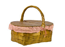 Picnic basket side view isolated on white Royalty Free Stock Image