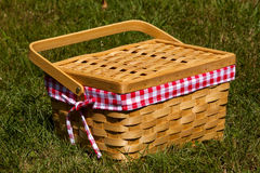 Picnic Basket. A picnic basket sits in the grass Stock Image