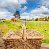 Picnic basket on step Royalty Free Stock Photo
