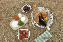 Picnic basket on straw Royalty Free Stock Images