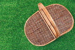 Picnic Basket On The Summer Lawn, Top View Stock Photo
