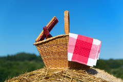 Picnic basket in summer Stock Image