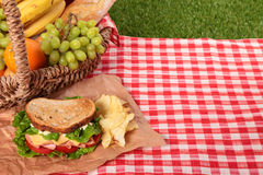 Picnic basket toasted ham and cheese sandwich Stock Image
