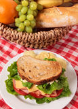 Picnic basket toasted ham and cheese sandwich Royalty Free Stock Images