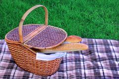 Picnic Basket With Two French Baguette On The Blanket Royalty Free Stock Photo