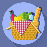 Picnic basket vector illustration. Royalty Free Stock Photos
