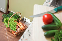 Picnic basket with vegetables on the Kitchen Royalty Free Stock Photography