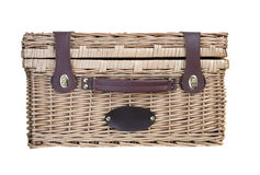 Picnic Basket on White Stock Photos