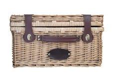 Picnic Basket on White Stock Photos