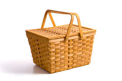 Picnic Basket on White Stock Image