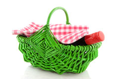 Picnic basket with wine Royalty Free Stock Photography