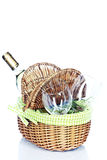 Picnic basket with wine Stock Images