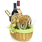 Picnic basket with wine. Bottles of wine and Picnic basket with glasses Stock Photo