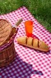 Picnic basket with wine bottle Stock Photo