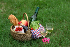 Picnic basket with wine, bread, vegetables Stock Photos