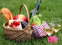 Picnic basket with wine, bread, vegetables. Picnic basket with white wine, bread, vegetables on grass royalty free stock image