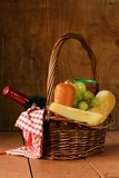 Picnic basket - wine, fruit, cheese Stock Photography
