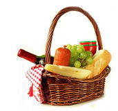 Picnic basket - wine, fruit, cheese Royalty Free Stock Photos