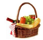Picnic basket - wine, fruit, cheese Royalty Free Stock Photos
