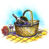 Picnic basket with wine and glasses Stock Image