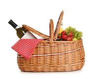 Free Picnic Basket With Wine And Fruit On White Stock Photography - 151515062