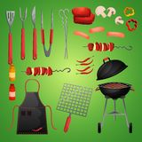 Picnic bbg set. Meat and vegetables bbq food fire outdoor party decorative icons set isolated vector illustration stock illustration