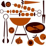 Picnic and BBQ grill icon set royalty free illustration